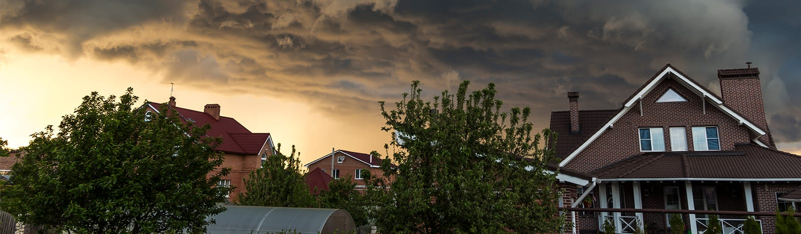 Residential neighbourhood with threatening storm clouds overhead