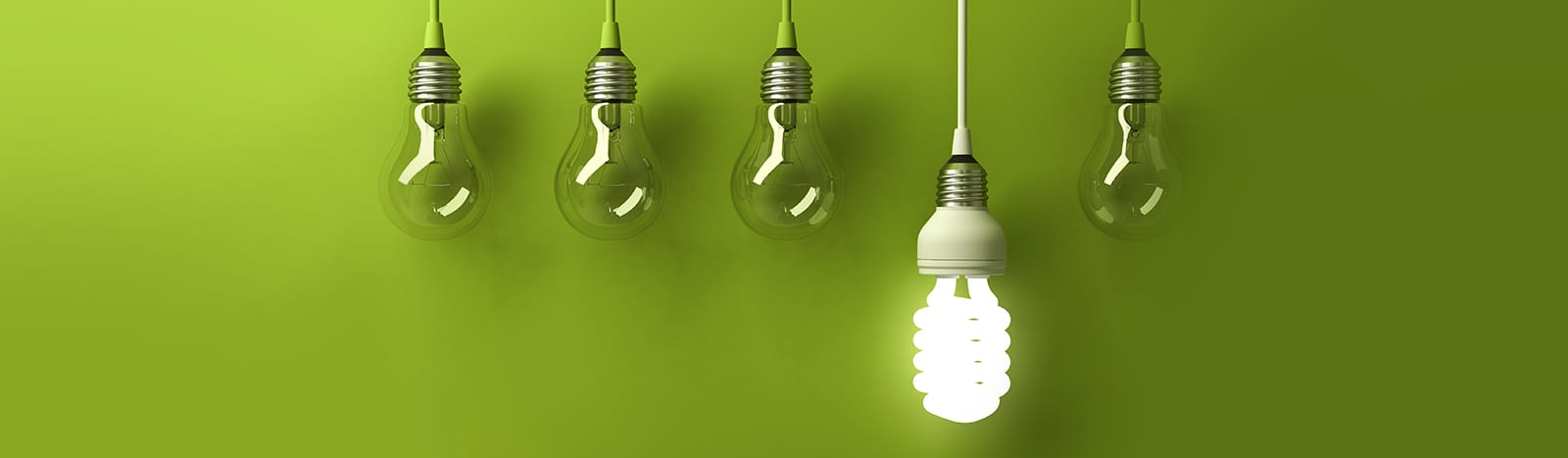 Lightbulbs in a row on a  green background