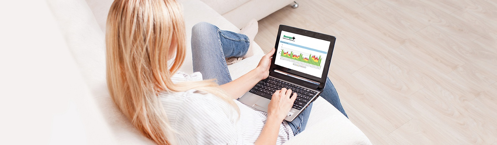 Woman on laptop reviewing hydro bill